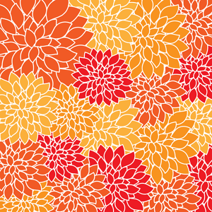 Wallpaper pattern made out of orange, yellow and red leaves.