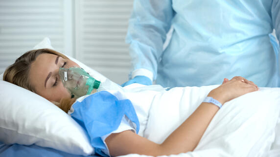 Young woman on a ventilator.