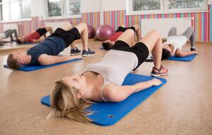 Group doing stretch class.