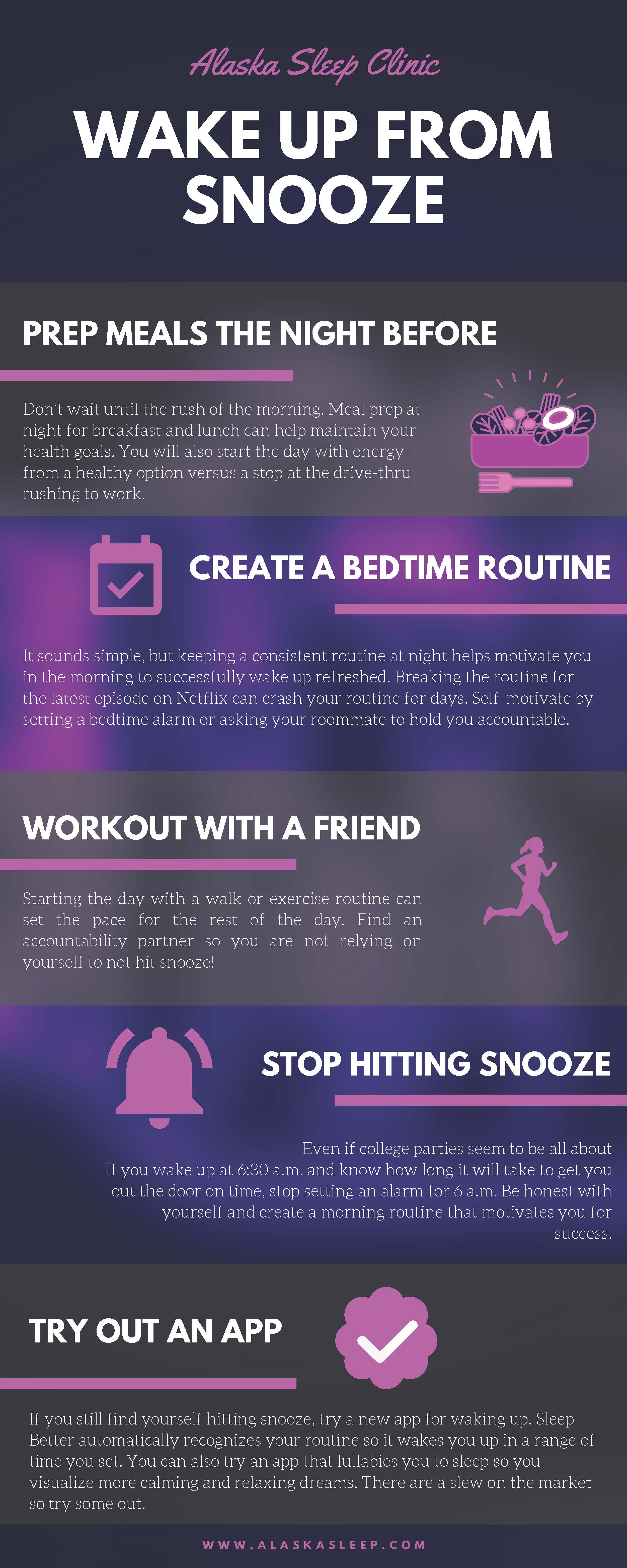 Alaska Snooze Tips Infographic