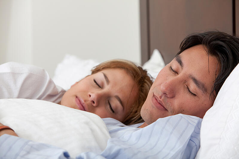 Beautiful  couple sleeping at their house-1