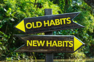 New Habits signpost with forest background